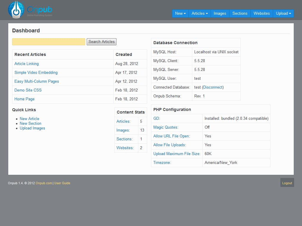 Content Management Interface Dashboard - Screenshots